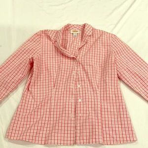 Talbots pink gingham Oxford button down